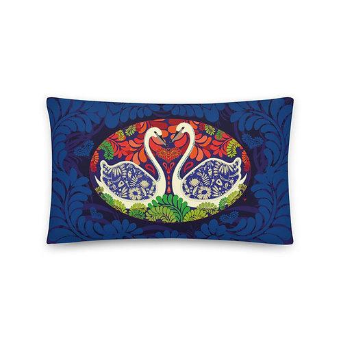 Home decor Cushion - Swans Blue