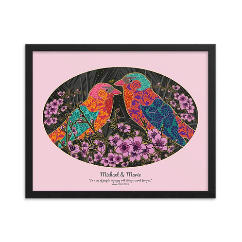 Framed Wedding Poster - Nightingale Pink