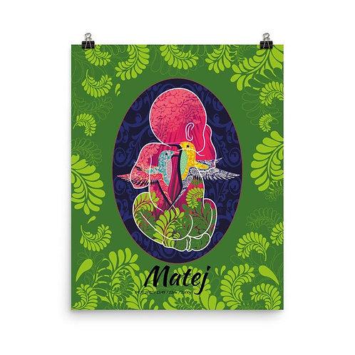 Photopaper birth poster - Hummingbird Green