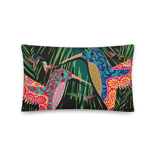 Home decor Cushion - Hummingbird Black