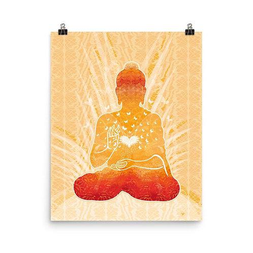 Photopaper Poster - Housewarming Gift - Buddha Gold White