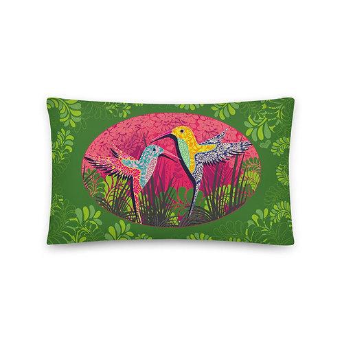 Home decor Cushion - Hummingbird Green
