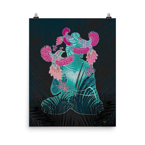 Photopaper Poster - Housewarming Gift - Buddha Birds White