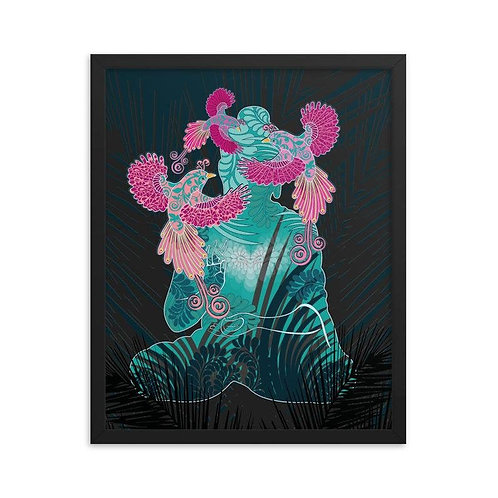 Framed Poster - Housewarming Gift - Buddha Birds White