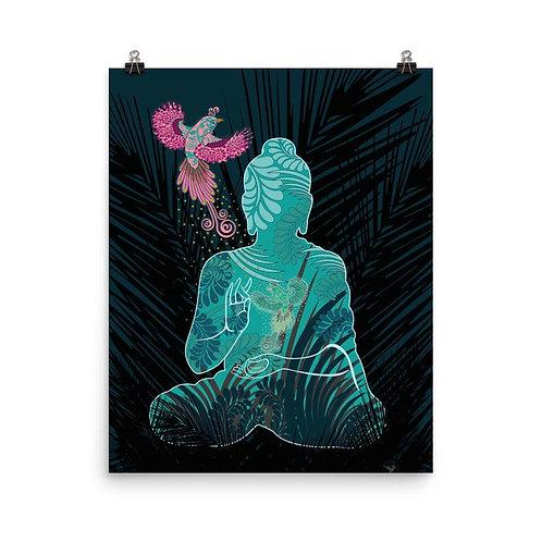 Plagát – Budha s fénixom /biela