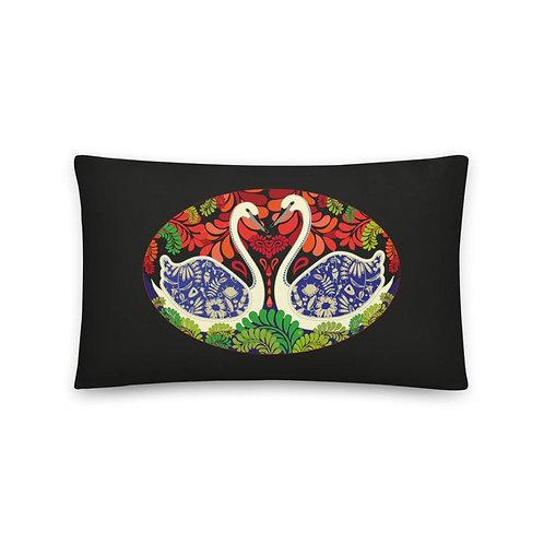 Home decor Cushion - Swans Black