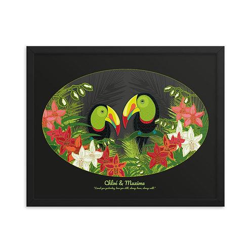 Framed Wedding Poster- Toucans Black