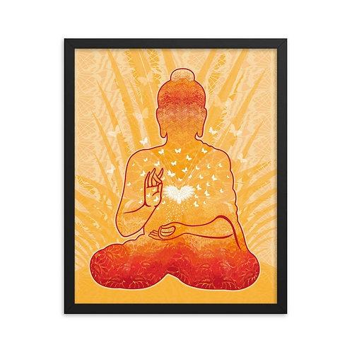 Framed Poster - Housewarming Gift - Buddha Gold White