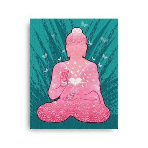 Obraz na plátne Budha s motýľmi ružový