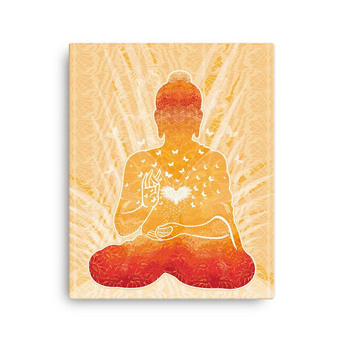Canvas Print - Housewarming Gift - Buddha Gold White