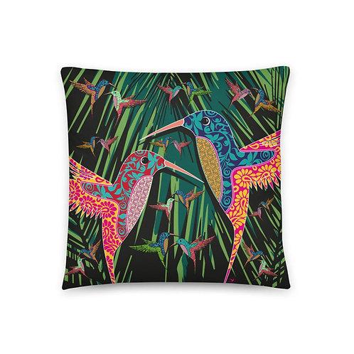 dizajnový vankúš s kolibríkmi /čierna