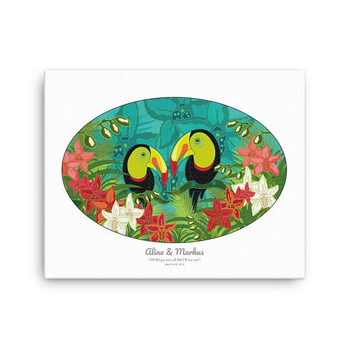 Canvas Print- Wedding Poster- Toucans White