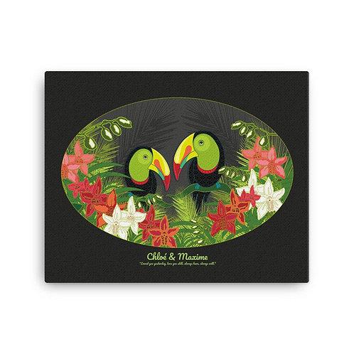 Canvas Print- Wedding Poster- Toucans Black