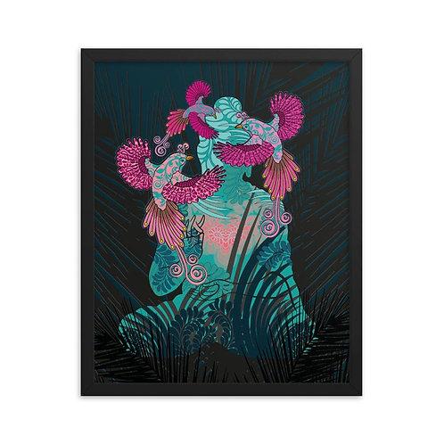 Framed Poster - Housewarming Gift - Buddha Birds Black