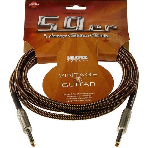 Cable de instrumento vintage 4.5 metros color negro-café