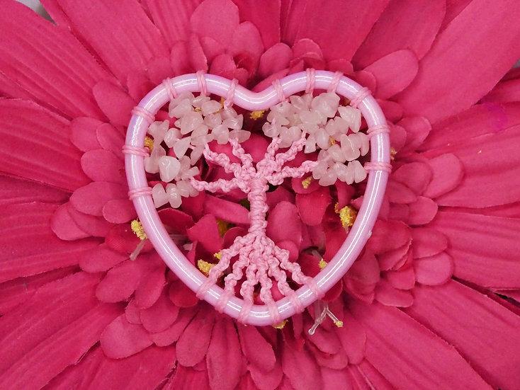 Arbre de Vie Coeur Quartz Rose