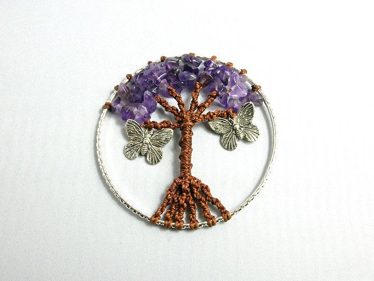 Collier Arbre de Vie Améthyste & Papillons