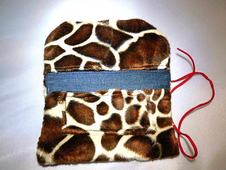 Petite pochette en motifs Girafes fausse fourrure & jean
