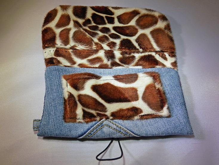 Petite pochette en Jean & Girafes fausse fourrure