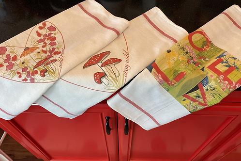 Set of 3 Wild Heart Mural tea towels