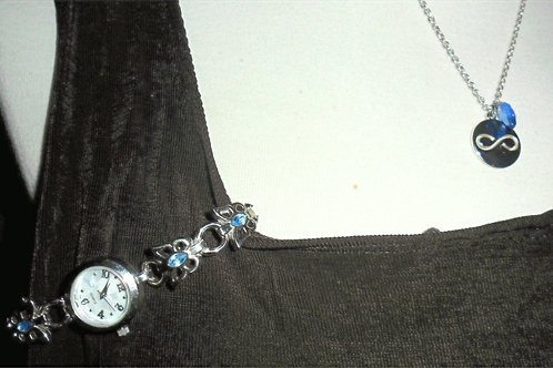 Domestic Violence Watch and Necklace Set