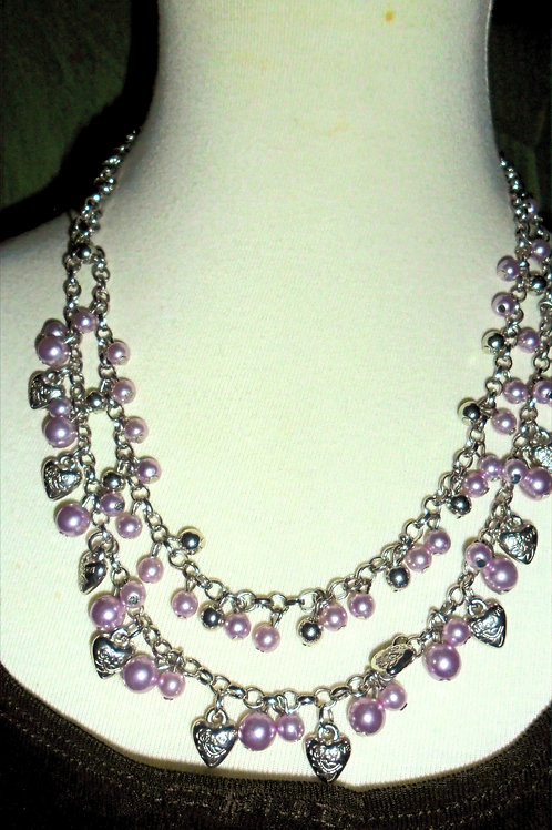 Hearts and Lavender Pearls (Purple) Necklace and Bracelet Set