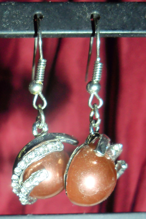 Brown Pearl and Rhinestone Earrings