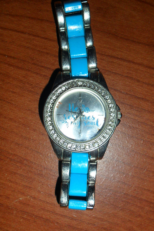 Turquoise, Silver, and Rhinestone Women's Watch