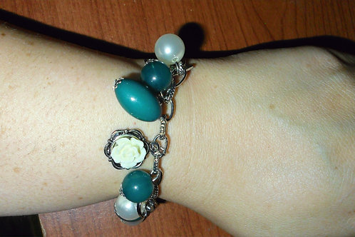 Teal/Turquoise and White Charm Bracelet and Ring Set