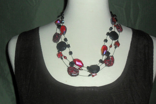 Black and Bright Pink Choker Style Necklace