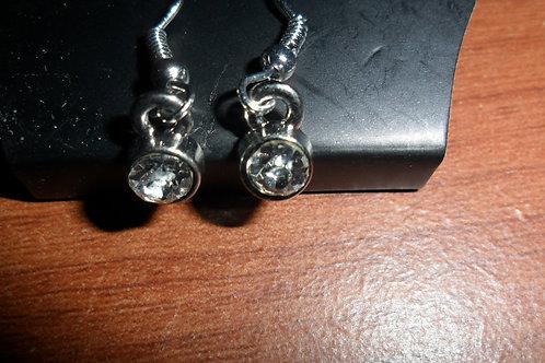 Rhinestone Earrings Set: 1 Circle Pair and 1 Heart Pair