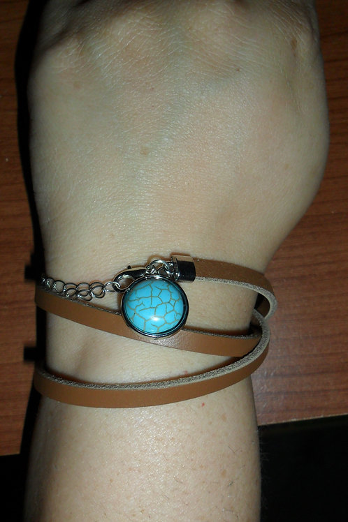Turquoise and Leather Wrap-Around Bracelet