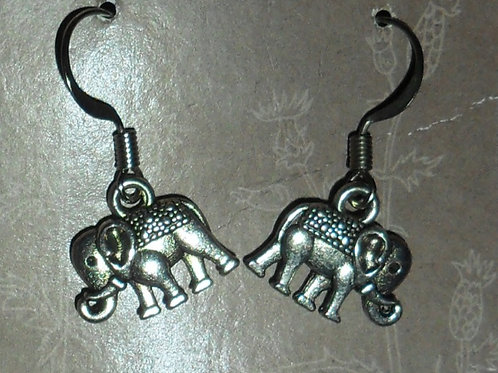 Elephant Silvertone Earrings