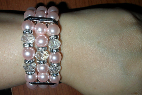 Pink Pearl and Rhinestone Bracelet and Ring Set