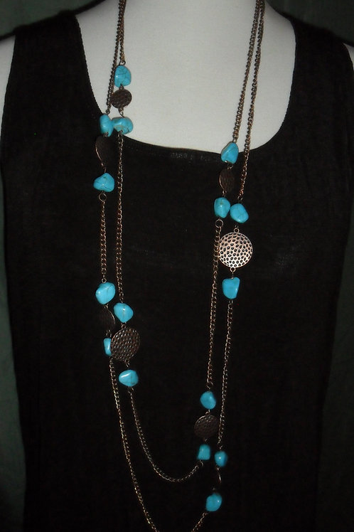 Jewelry Set: Turquoise Necklace, Bracelet, and Earrings
