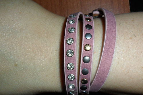 Pink Suede and studded wrap-around bracelet