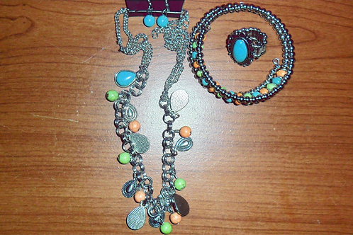 Turquoise, Orange & Green Set; Includes: Earrings, Necklace, Ring & Bracelet