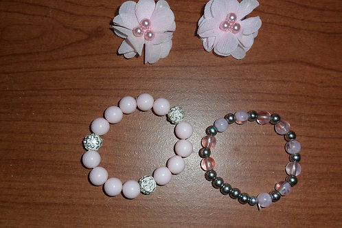 Children's Set; Includes: 2 Bracelets and 2 Flower Hairclips (Pink)