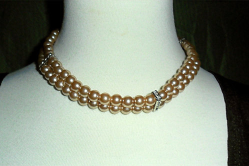 Brown Pearl and Rhinestone Necklace