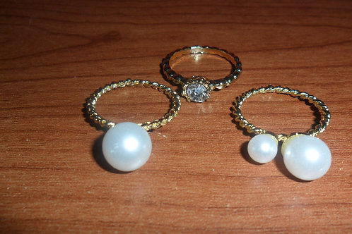 3 Piece Pearl Ring Set; fits size 6.5-7