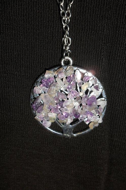 Purple Tree of Life Silver Pendant