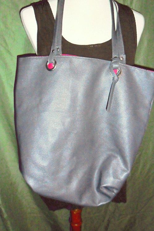 Grey Purse with Pink Lining