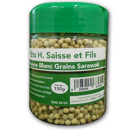 Poivre blanc Sarawak en grains pot 150 G