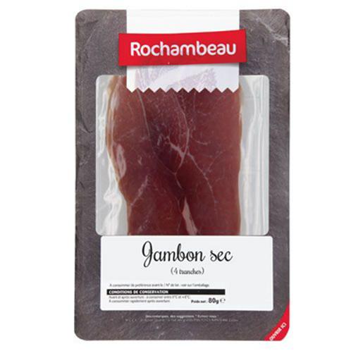 Jambon sec 4 tranches 100 g Rochambeau