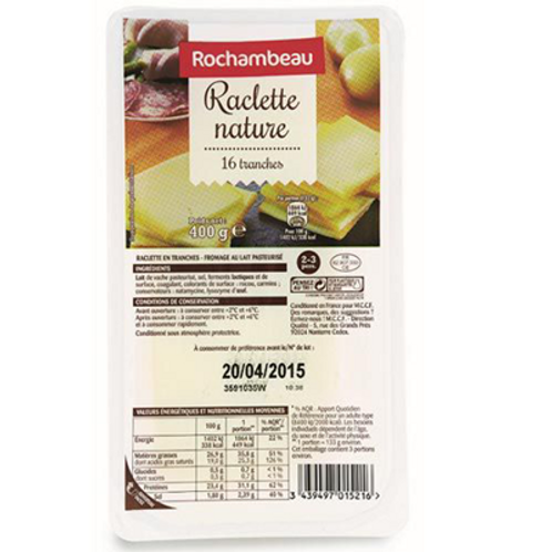 Raclette nature16 tranches Barquette 400 g Rochambeau