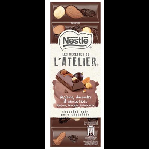Les Recettes de l'Atelier chocolat noir raisins amandes et noisettes 100 g Nestl