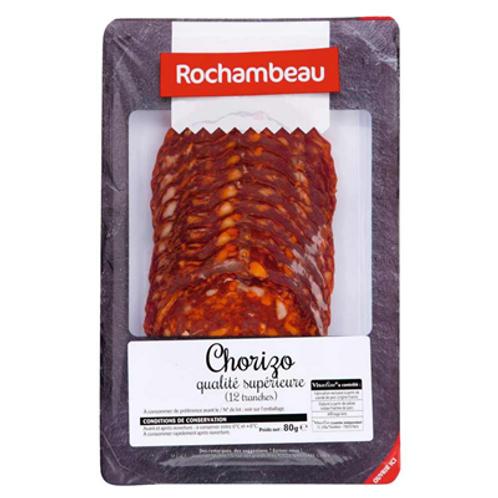Chorizo qualité supérieure 12 tranches 80 g Rochambeau