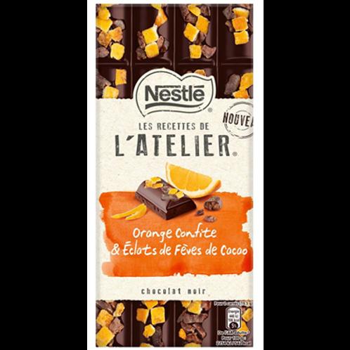 Les Recettes de l'Atelier chocolat noir orange confite et éclats de fèves de cac
