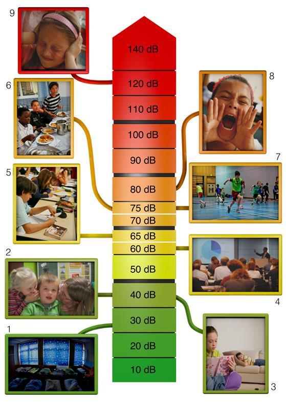 échelle niveaux sonores école exposition bruit
