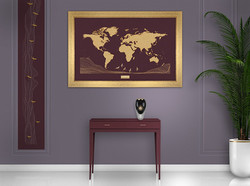 Cadre dorée - fond Burgundy